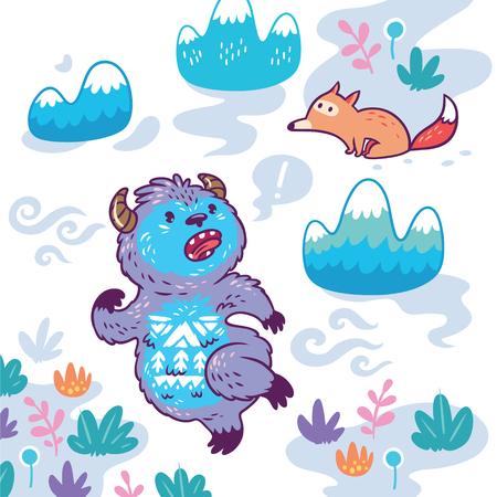 Bigfoot runs away from the fox. Vector illustration in cartoon style  イラスト・ベクター素材