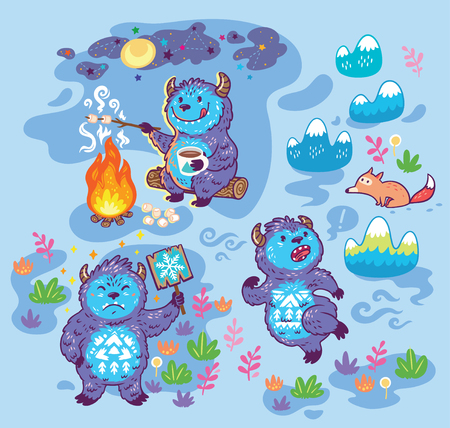 Print with busy Yetis in cartoon style. Vector illustration
