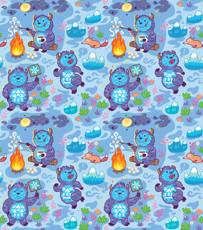 Cartoon Yetis vector seamless pattern. Wallpaper background Illustration