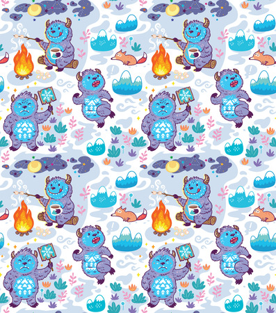 Cartoon Yetis vector seamless pattern. Wallpaper background Illustration