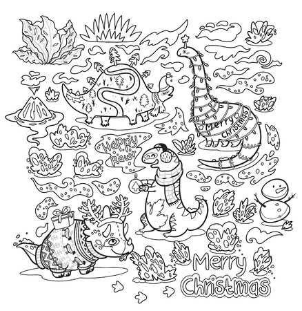 Black and white Christmas cartoon dinosaurs in sweaters, hats and scarves. Vector illustration. Kids coloring page. Stock Illustratie