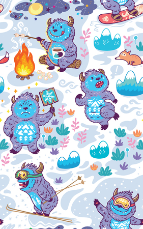 Yeti roasts marshmallows on the campfire, a Yeti holding a sign, Bigfoot runs away from the Fox, Skiing and Snowboarding Yetis. Seamless pattern.