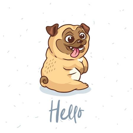 Hello card. Pug Dog card in cartoon style. Vector illustration. Vettoriali