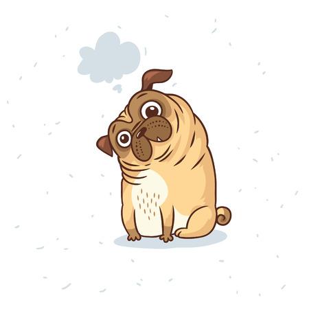 Pug Dog card in cartoon style. Vector illustration.