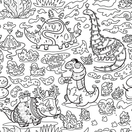 Seamless christmas pattern with funny dinosaurs in sweaters, hats and scarves. Black and white background vector illustration