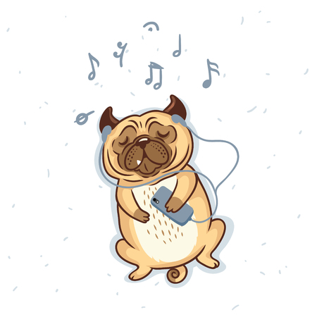 Pug Dog in cartoon style listening music with earphones. Vector illustration.