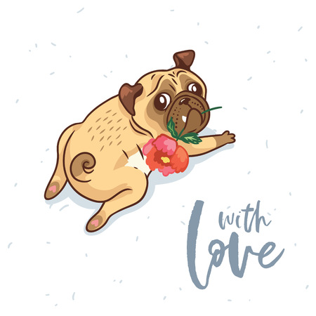 Card with love. Pug Dog with flower in cartoon style. Romantic vector illustration.