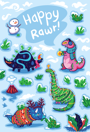 Happy Rawr text. Christmas greeting card with cute cartoon dinosaurs with gifts, garland and ferns. Prehistoric animals in winter decorations