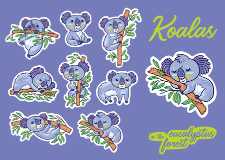 Sticker set with koalas in the eucalyptus forest. Vector illustration. Creative pins, badges and icons in cartoon style.