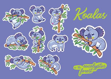 Set de pegatinas con koalas en el bosque de eucaliptos. Ilustración vectorial Pines creativos, insignias e iconos en estilo de dibujos animados.
