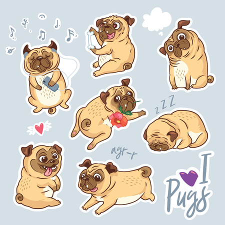 Vector set of cute pug pupies for stickers, pins and patches Stock Illustratie