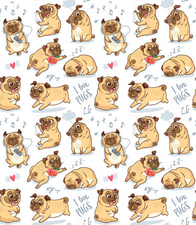 Cute funny pug pupies seamless pattern background 写真素材 - 108521678