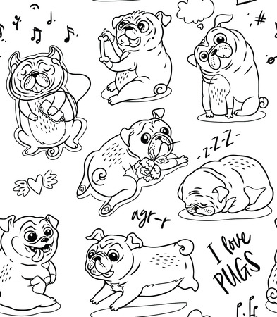 Cute funny pug pupies seamless pattern background in contour