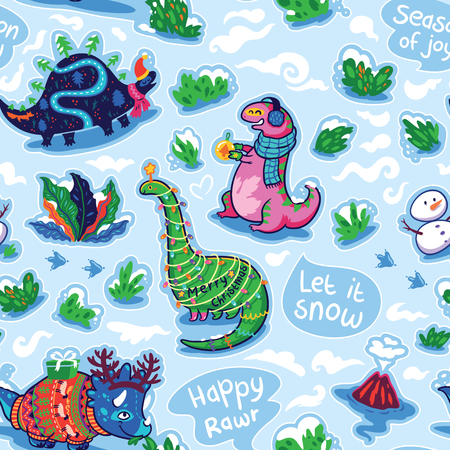 Funny holiday dinosaurs in the cozy sweater, scarf and hats. Cartoon patches background. Vector trendy illustration.