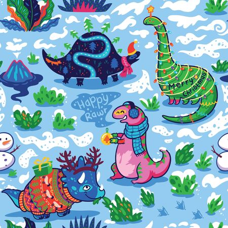 Seamless pattern with cute funny holiday dinosaurs in sweaters, hats and scarves.  イラスト・ベクター素材