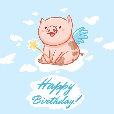 Birthday card with fairy piggy. Vector illustration 写真素材 - 133519534