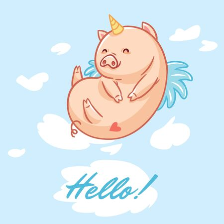 Hello card with fairy unipig. Vector illustration