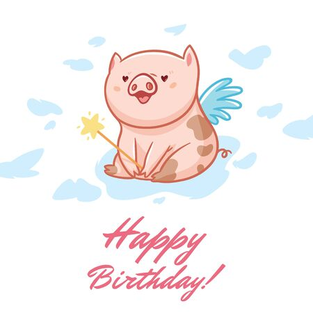 Birthday card with fairy piggy. Vector illustration