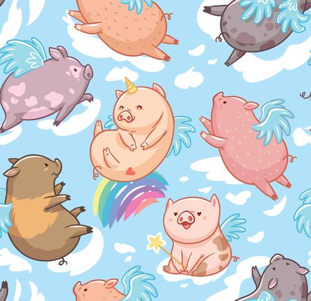 Seamless pattern with mini piggy in the clouds. Vector Illustration.