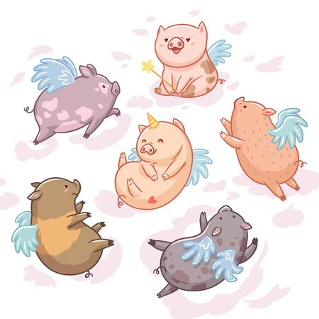 Flying pigs in the clouds. Cartoon characters. Six mini pigs isolated on white background  イラスト・ベクター素材