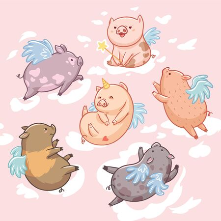 Flying pigs in the clouds. Cartoon characters. Six mini pigs isolated on pink background