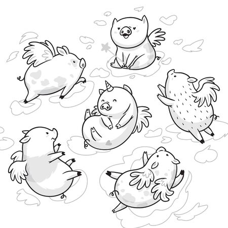 Set of ink flying pigs in the clouds. Cartoon characters. Ideal for coloring  イラスト・ベクター素材