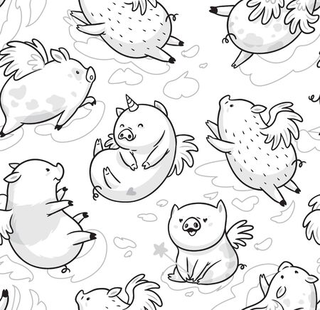 Seamless pattern with cute mini piggy soaring in the clouds. Ideal for coloring. Ink illustration