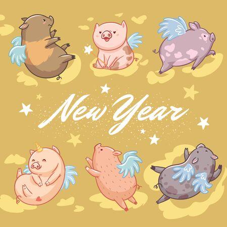 新年のグリーティングカード。金の背景に飛ぶ豚。ベクトル図 写真素材 - 133519604