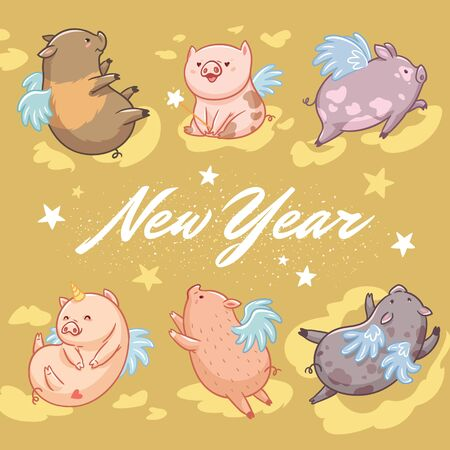 New Year greeting card. Flying pigs on gold background. Vector illustration