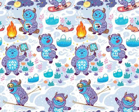 Seamless childish pattern with cute monsters, yeti.