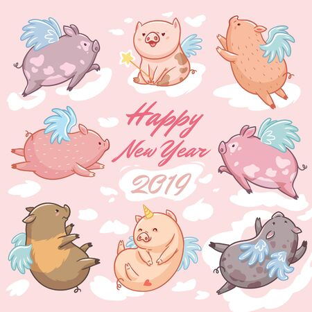 Pigs with wings in the clouds, 2019 happy new year card. Cartoon characters 写真素材