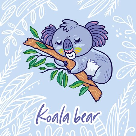 Sleeping koala in the eucalyptus. Hand drawn vector illustration