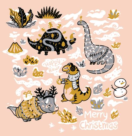 Funny Christmas and New Year characters of dinosaurs