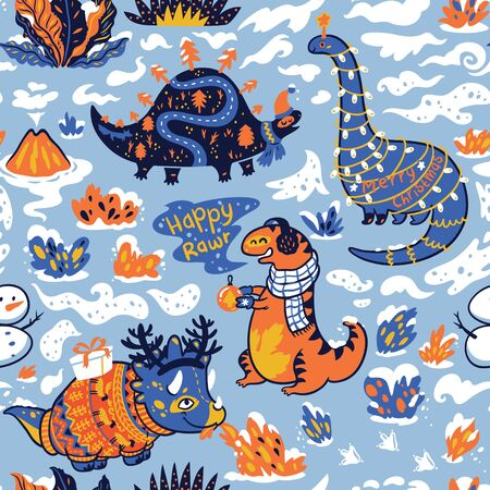 Seamless pattern with dinosaurs with gifts and garland. Creative holidays background. Vector Illustration 写真素材 - 133519614