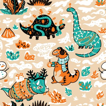 Characters winter dinosaurs with garland and gifts. Vector seamless pattern