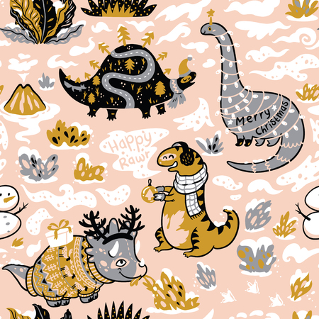 Seamless pattern with dinosaurs with gifts and garland. Creative holidays background. Vector Illustration  イラスト・ベクター素材