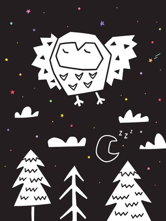 Owl flying over the forest. Monochrome scandinavian vector illustration in simple style