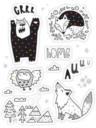 set with different hand drawn stickers with forest animal. 向量圖像
