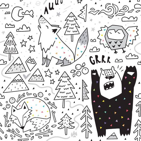 Seamless pattern of cute animals - fox, bear, owl, wolf and graphic elements in geometric style. Great for fabric, textile.