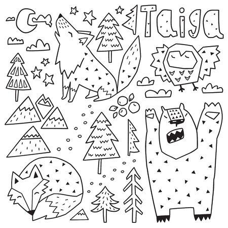 Forest animals characters and nature elements set. Cartoon geometric style. Ideal for coloring