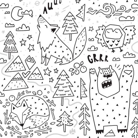 Black and white seamless pattern of cute animals - fox, bear, owl, wolf and graphic elements in geometric style.