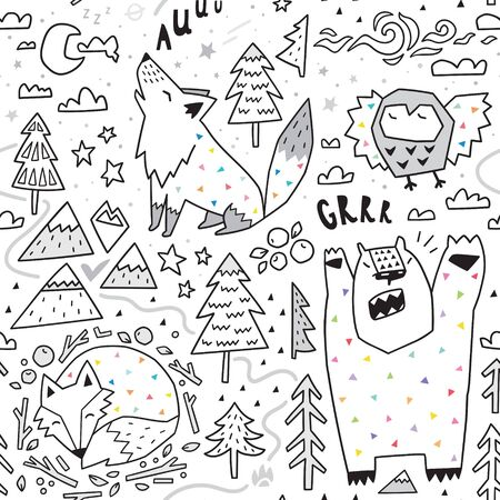 Seamless pattern of cute animals - fox, bear, owl, wolf and graphic elements in geometric style.