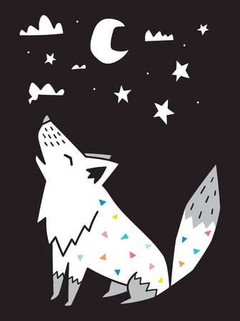 Wolf howls at the moon in the night. Scandinavian style. Vector illustration