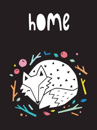 Home. Night print with sleeping fox. Scandinavian style. Vector illustration