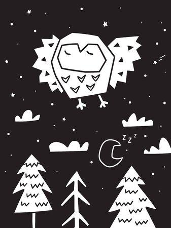 Owl flying over the forest. Trendy scandinavian vector illustration in monochrome 写真素材 - 133143166
