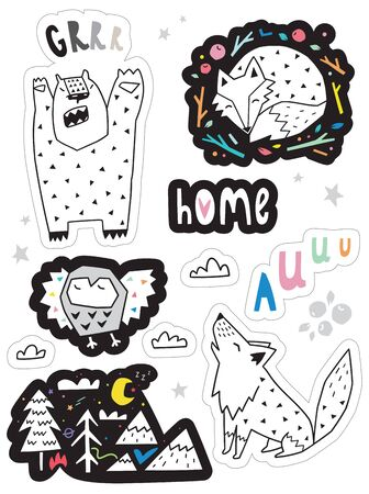 set with funny stickers with forest animals. 向量圖像