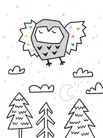 Owl flying over the forest. Trendy scandinavian vector illustration in geometric style