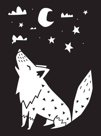 Wolf howls at the moon in the night. Monochrome scandinavian vector illustration in simple style  イラスト・ベクター素材