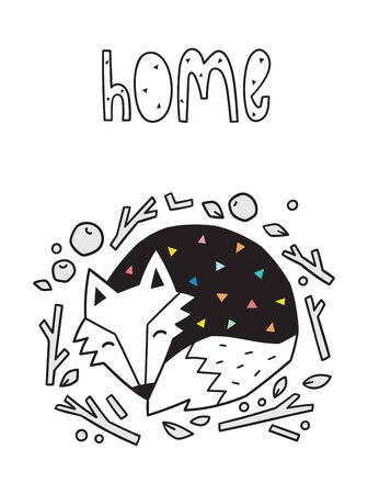 Home. Scandinavian print with sleeping fox. Vector illustration 写真素材 - 133143706
