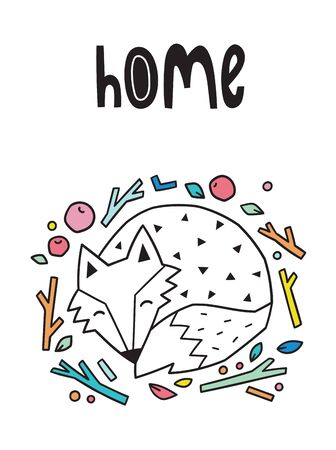 Home. Night print with sleeping fox. Scandinavian style. Vector illustration 写真素材 - 133143199